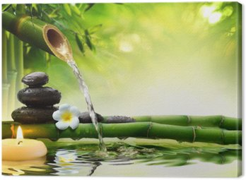 Canvas Print spa stones in garden with flow water