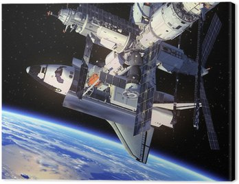 Canvas Print Space Shuttle And Space Station