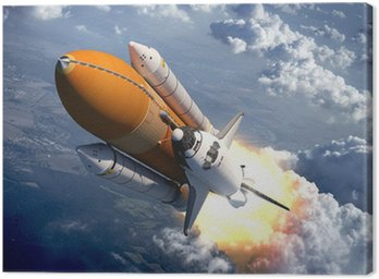 Canvas Print Space Shuttle Flying Over The Clouds