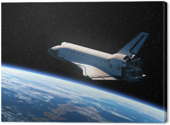 Canvas Print Space Shuttle Orbiting Earth
