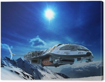 Canvas Print spaceship in snow planet