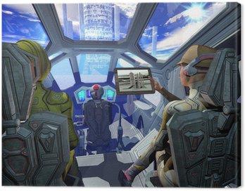 spaceship interior and alien planet