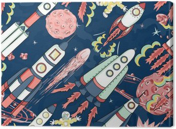 Canvas Print spaceship seamless pattern