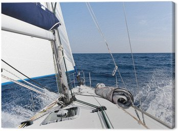Canvas Print Speed sailing yacht in the sea