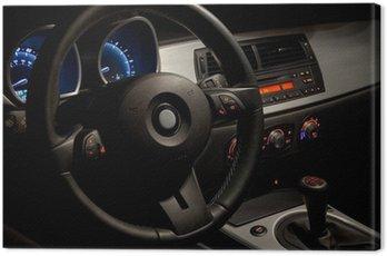 Sports car interior with dramatic nighttime lighting