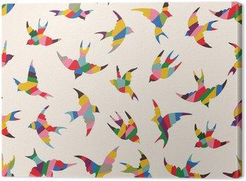 Spring birds seamless pattern Canvas Print