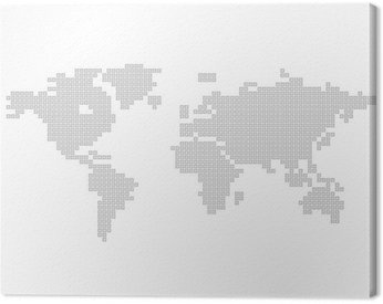 Square Dot Map of the World Gray World Canvas Print