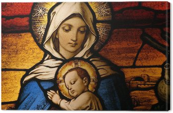 Canvas Print Stained glass depicting the Virgin Mary holding baby Jesus