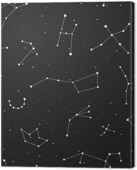 Canvas Print Starry night, seamless pattern, background with stars and constellations, vector illustration