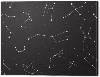 Starry night, seamless pattern, background with stars and constellations, vector illustration
