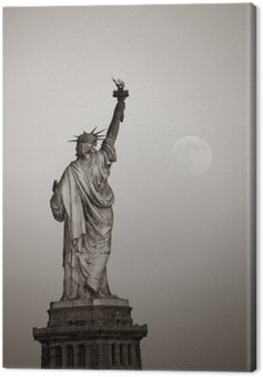 Canvas Print Statue of liberty and moon