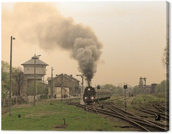 Canvas Print Steam retro train starting from the station