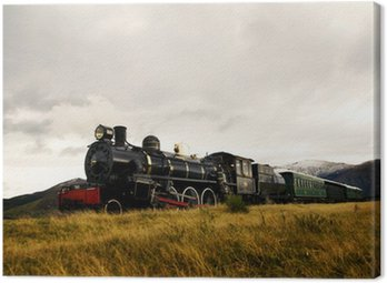 Canvas Print Steam Train in a Open Countryside