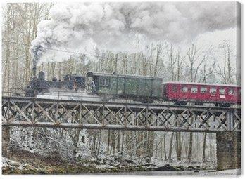 Canvas Print steam train near Hradsko, Czech Republic