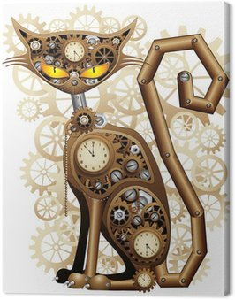Steampunk Cat Vintage Style-Gatto Meccanico Surreale