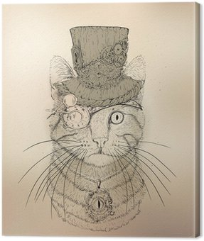 Canvas Print Steampunk Cat Vintage Style