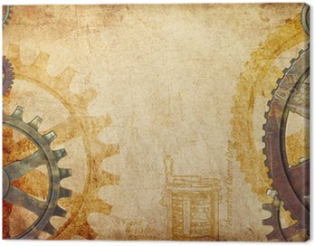 Canvas Print Steampunk Gears and Cogs Background