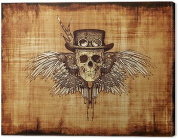 Canvas Print Steampunk Skull on Parchment