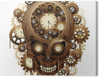 Canvas Print Steampunk Skull Vintage Style-Teschio Meccanismo Orologio