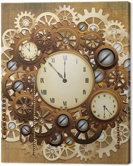 Canvas Print Steampunk Style Clocks and Gears-Orologio Antico Meccanismo