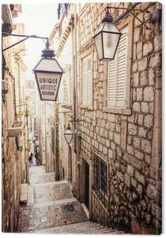 Steep stairs and narrow street in old town of Dubrovnik Canvas Print