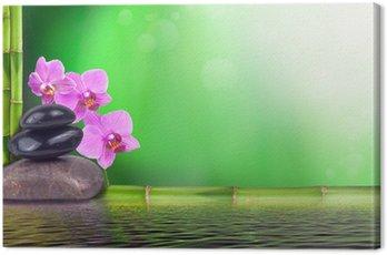 Canvas Print Stillleben aus Bambus, Orchidee und Steinen