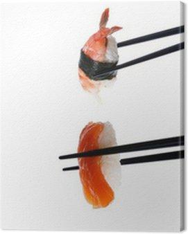 Stock Photo: Sushi with chopsticks isolated on white