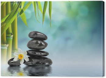Canvas Print Stones and Bamboo on the water with narcissus flower