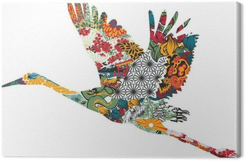 Canvas Print Stork in Japanese ornament