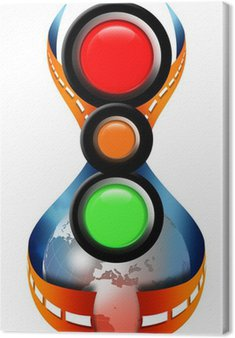Canvas Print Street traffic lights