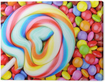 Canvas Print Striped lollipop and multicolored smarties