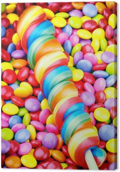 Canvas Print Striped lollipop and smarties