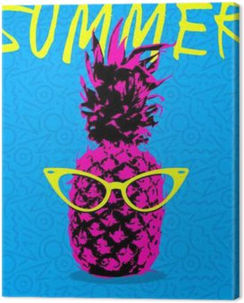 Canvas Print Summer design of pineapple with hipster glasses