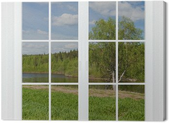 Canvas Print Summer landscape behind a window. 3D image