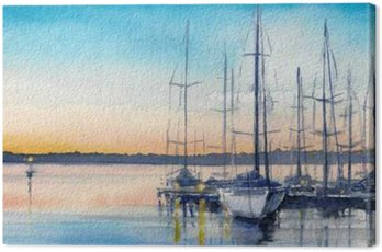 Summer landscape with sailing boats in bay.