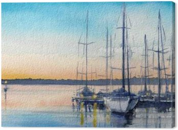 Canvas Print Summer landscape with sailing boats in bay.