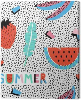 Canvas Print Summer seamless pattern with bananas and watermelon in pop art style.