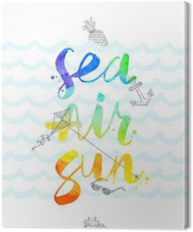Summer vacation hand drawn illustration with watercolor calligraphy - vector illustration