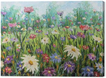 Canvas Print Summer wild flowers, oil painting