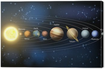 Canvas Print Sun and planets of the solar system