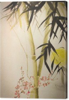 Canvas Print Sun bamboo and plum branch