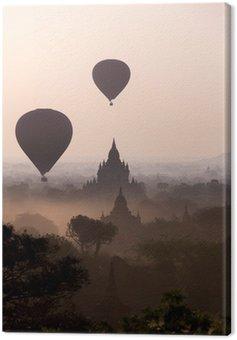 Sunrise over the temple plains of Bagan - Myanmar Canvas Print