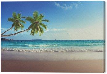 sunset on Seychelles beach Canvas Print