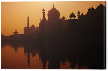 Canvas Print Sunset Silhouette Of A Grand Taj Mahal