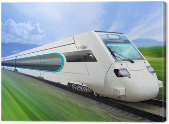 Canvas Print super streamlined train on rail