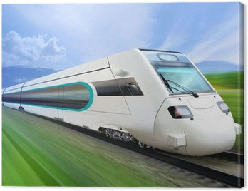 super streamlined train on rail Canvas Print