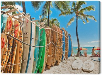 Canvas Print Surfboards in the rack at Waikiki Beach - Honolulu