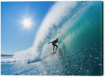 Canvas Print Surfer on Blue Ocean Wave