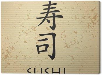 Sushi bar menu with japanese characters