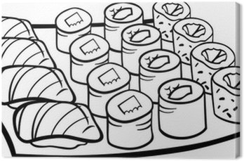 sushi lunch cartoon coloring page Canvas Print